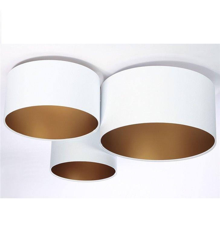 Ambrozja Złota biało złoty plafon do dużych pomieszczeń 3 abażury różnej wielkości materiał welur