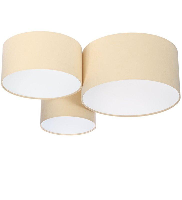 Plafoniera Verbena Biała kremowo biała duża układ 3 abażurów tkanina welur do dużych pomieszczeń