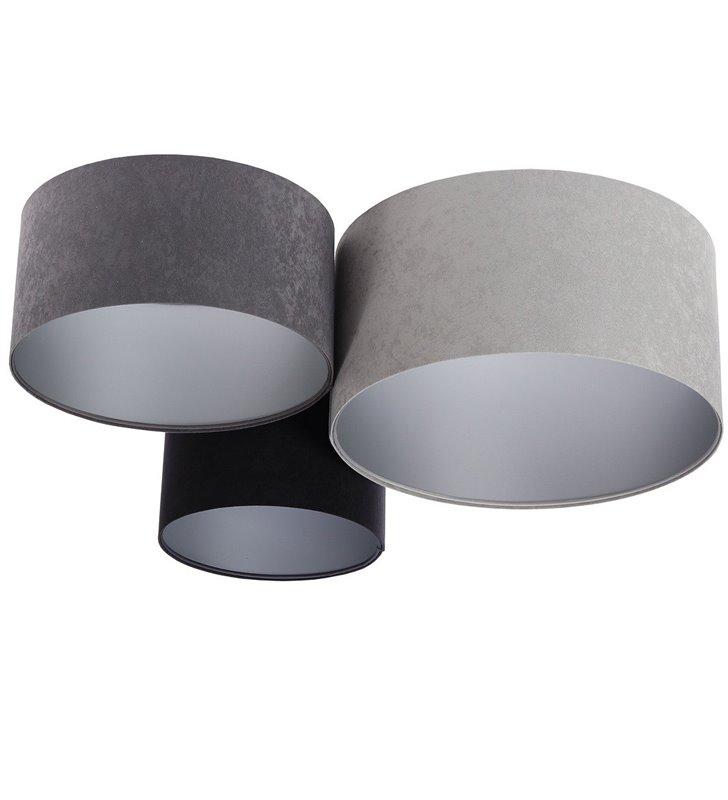 3 kolorowy plafon z weluru Ronda Srebrny grafitowy szary czarny srebrne wnętrza abażurów duży metr do salonu sypialni na hol