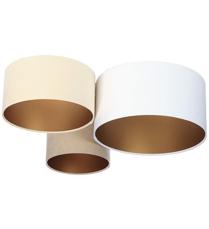 3 kolorowy plafon abażurowy Avila Złoty kremowy beżowy biały 30 40 50cm