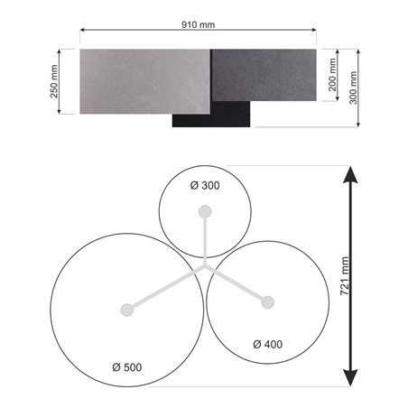 Plafon Mijas Biały duży 3 abażury szary grafitowy czarny 30 40 50cm