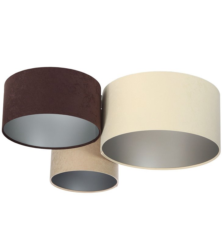 Plafoniera Santander Srebro z weluru połączone 3 abażury w różnych kolorach brąz krem beż 30 40 50cm do dużego pomieszczenia