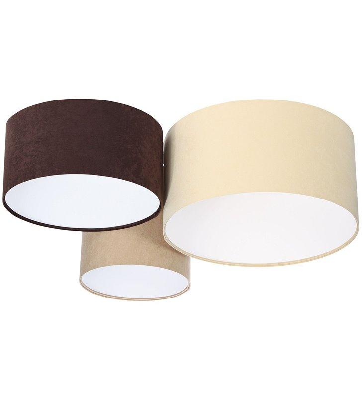 Plafon Santander Biały materiał welur 3 abażury brązowy kremowy beżowy 30 40 50cm do salonu sypialni pokoju gościnnego