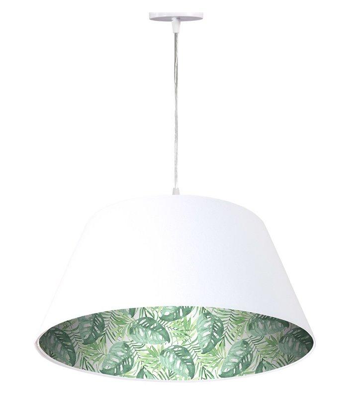 Oryginalna biała welurowa lampa wisząca dekoracyjnym tropikalnym motywem wewnątrz abażura Tropikalne Liście