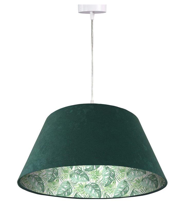 Zielona lampa wisząca z weluru motyw tropikalny wewnątrz abażura 50cm Tropikalne Liście1