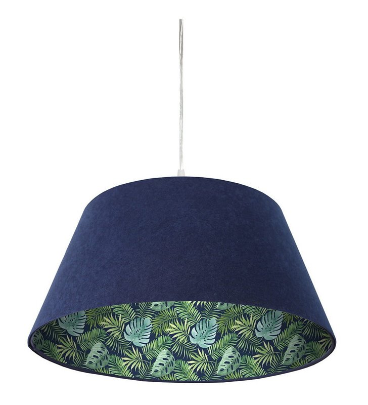 Granatowa lampa wisząca z weluru Zielony Gaj abażur stożek tropikalny dekor wewnątrz abażura 50cm