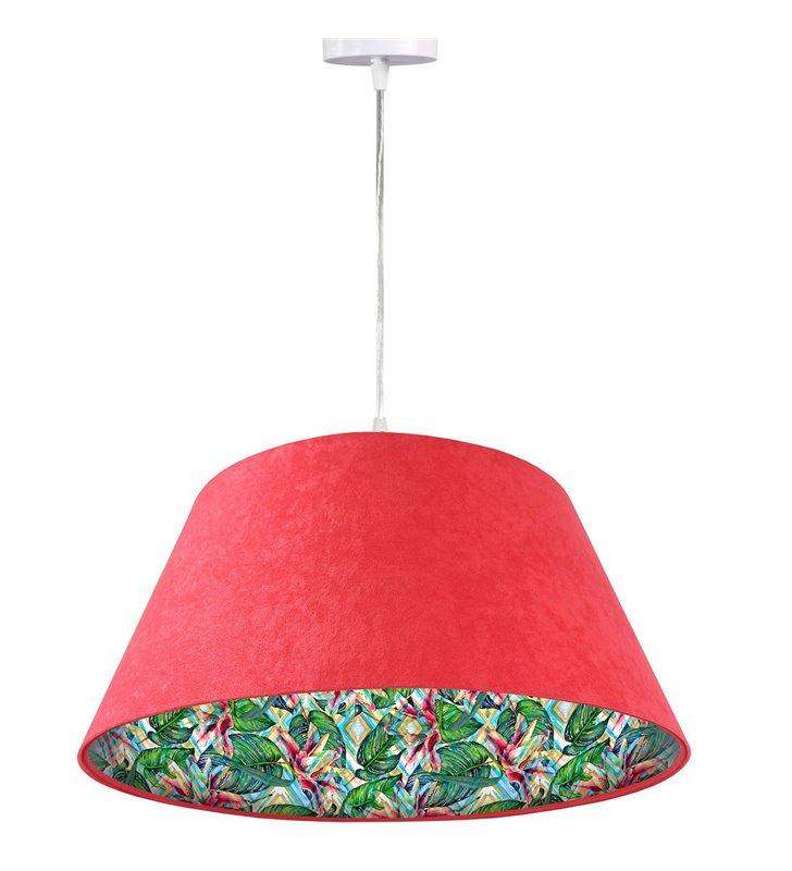 Lampa wisząca Tropikalna Moranda czerwona abażur welur stożek 50cm motyw roślinny wewnątrz abażura