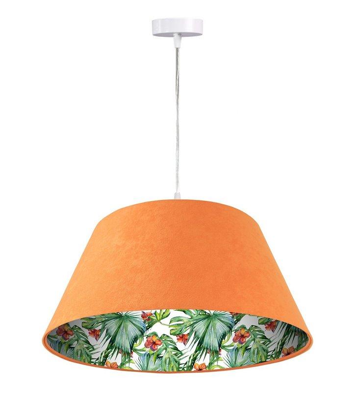 Kolorowa lampa wisząca Delikatny Hibiskus pomarańczowa abażur welur  motyw roślinny wewnątrz abażura do salonu sypialni jadalni