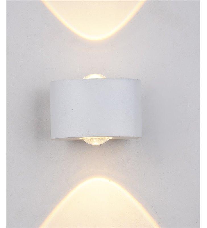 Kinkiet ogrodowy Gilberto biały mały minimalistyczny nowoczesny strumień światła góra dół IP54 3000K