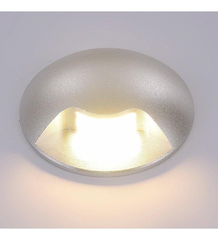 Zewnętrzna lampa ścienna do ogrodu Basilio LED srebrna okrągła IP65 wysoka szczelność świeci w dół