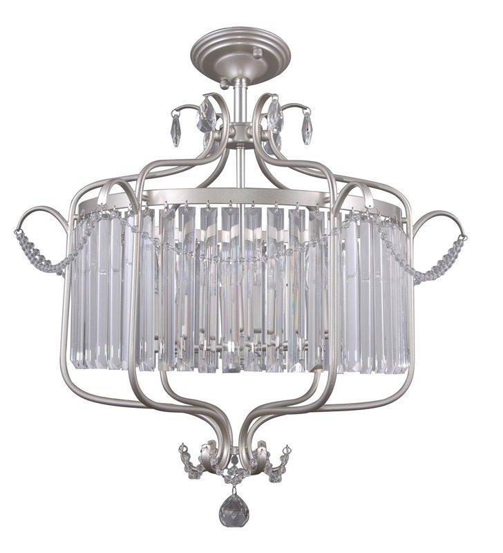 Kryształowa lampa sufitowa Rinaldo kolor srebrny szampański styl klasyczny duża do salonu jadalni sypialni pokoju dziennego