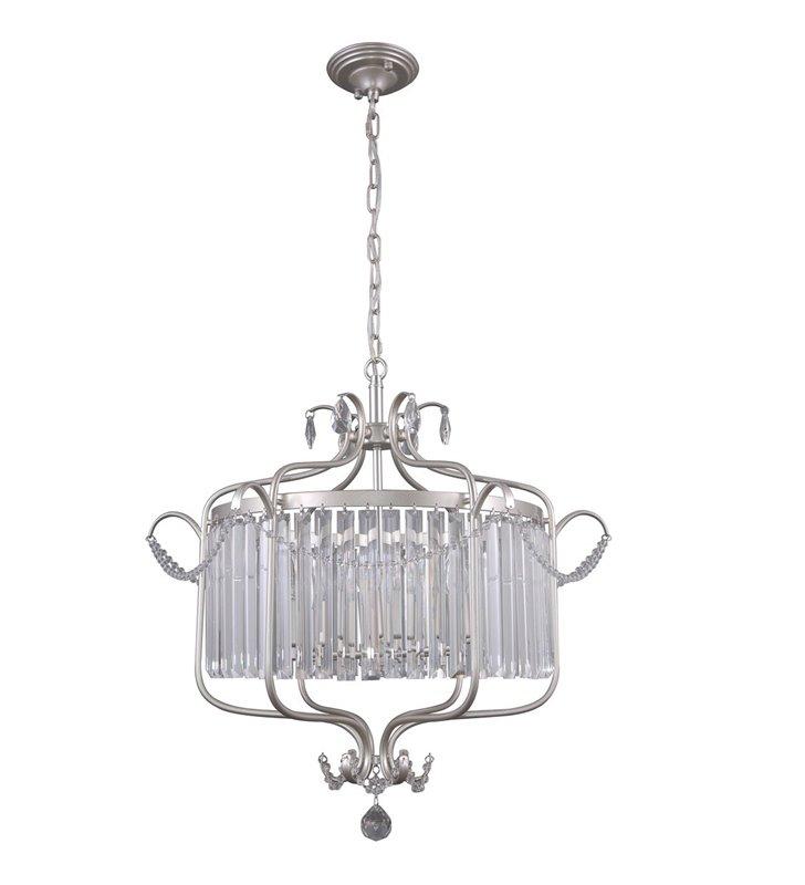 Lampa wisząca Rinaldo kryształowa klasyczna metal srebro szampańskie średnica 66cm do salonu jadalni sypialni restauracji