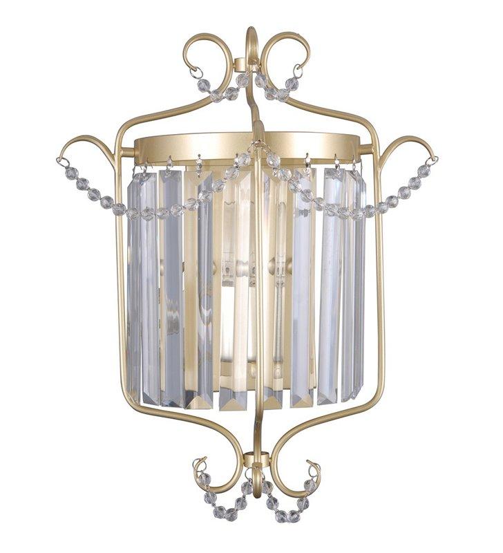 Złoty dekoracyjny klasyczny kinkiet kryształowy Rinaldo