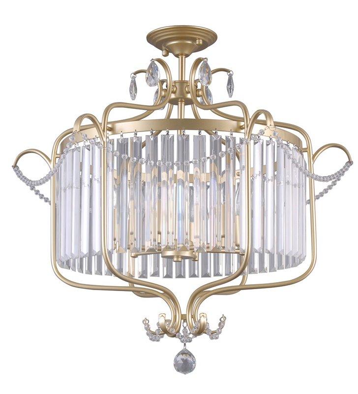 Dekoracyjna kryształowa lampa sufitowa Rinaldo w kolorze złoty do salonu jadalni sypialni pokoju dziennego