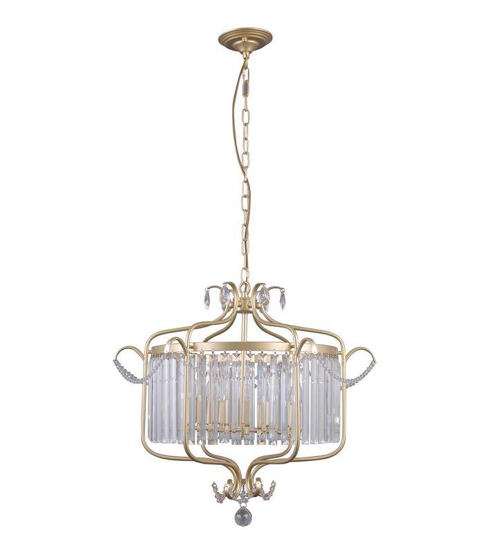 Klasyczna złota lampa wisząca z kryształami Rinaldo średnica 66cm do salonu jadalni sypialni