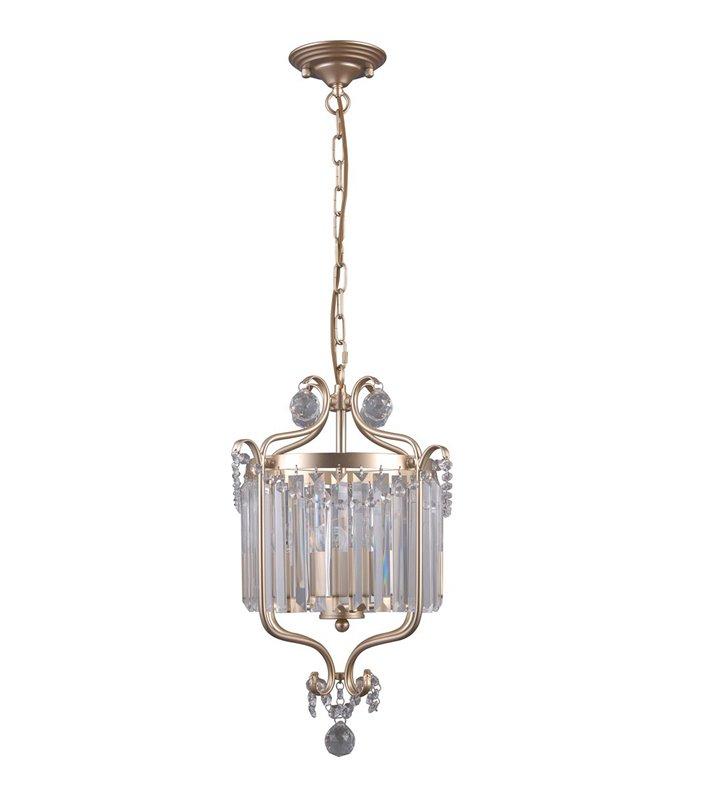 Złota klasyczna lampa zwisająca z podłużnymi kryształami Rinaldo dekoracyjna finezyjny kształt do salonu jadalni sypialni