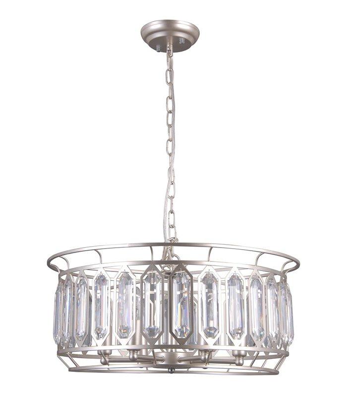 Lampa wisząca Priscilla w kolorze szampańskim z podłużnymi kryształami na kloszu średnica 54cm okrągła