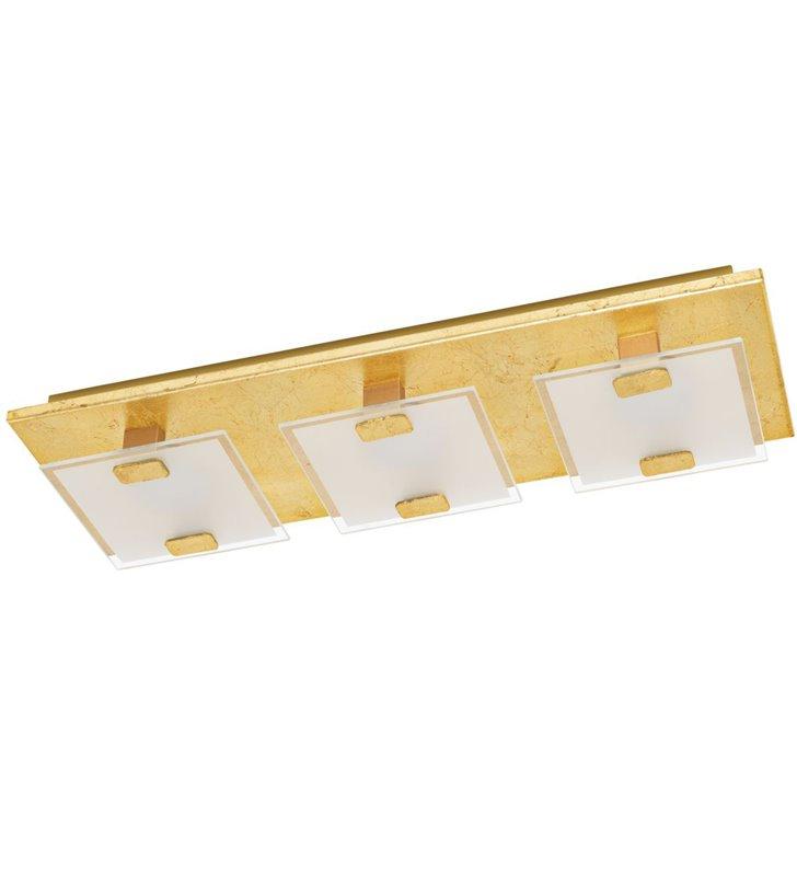 Prostokątny plafon Vicaro1 LED złoty 3 punkty świetlne ciepła barwa światła moduł LED wymienny