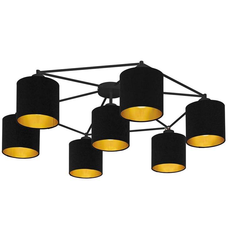 Bardzo duża nowoczesna czarna abażurowa lampa sufitowa Staiti do salonu sypialni korytarz