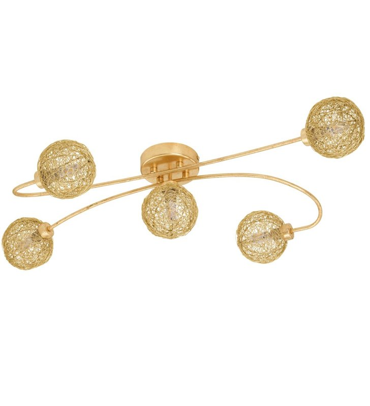 Lampa sufitowa Caris1 5 punktowa złota klosze kule z plecionego metalu