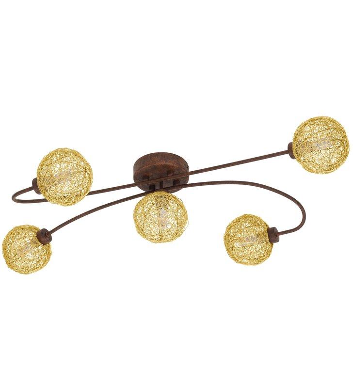 Lampa sufitowa Caris1 metal rdzawy brąz złote plecione metalowe klosze do salonu sypialni jadalni np. w stylu rustykalnym