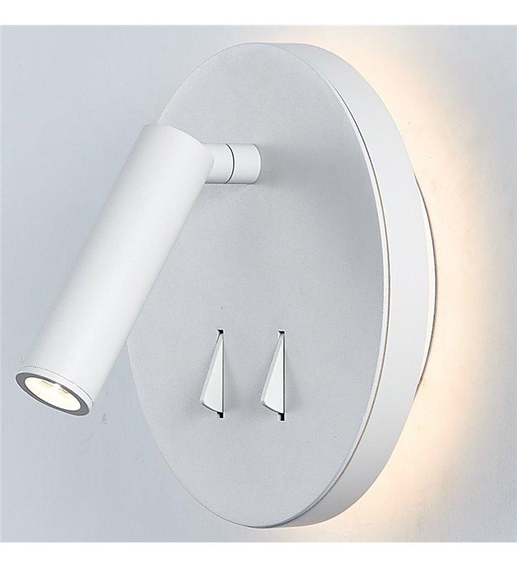 Kinkiet Nelly biały okrągły nowoczesny z podświetlaną podstawą 2 włączniki np. do sypialni