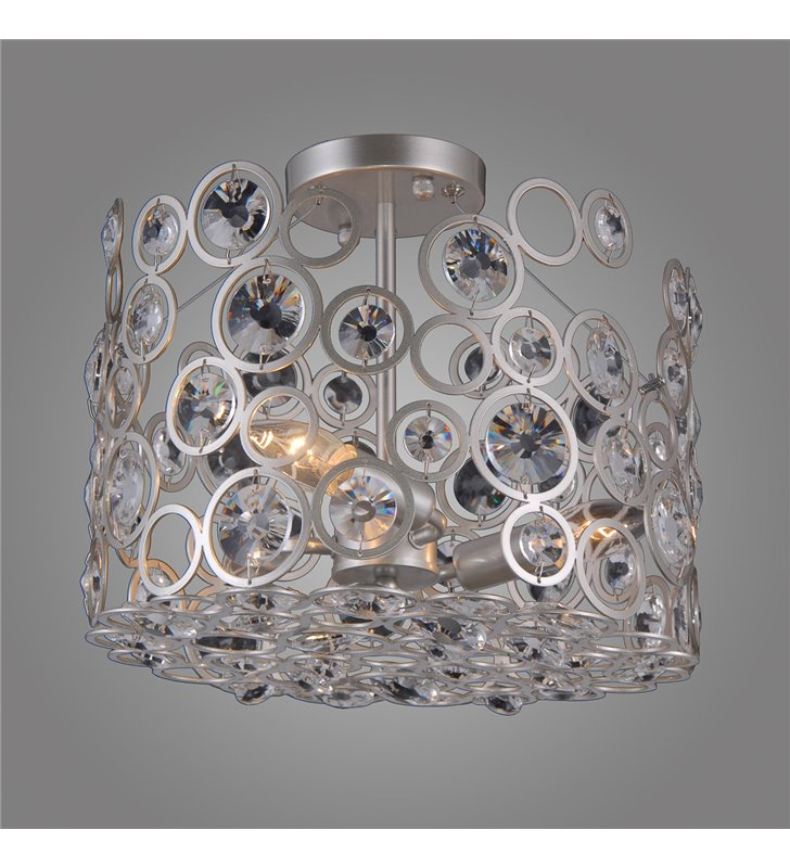 Ażurowa lampa z kryształami Nardo nowoczesna srebrna odcień szampana do salonu sypialni jadalni hol