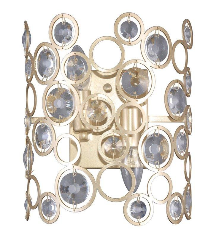 Złoty ażurowy kinkiet z okrągłymi kryształkami Nardo dekoracyjny do salonu pokoju dziennego sypialni