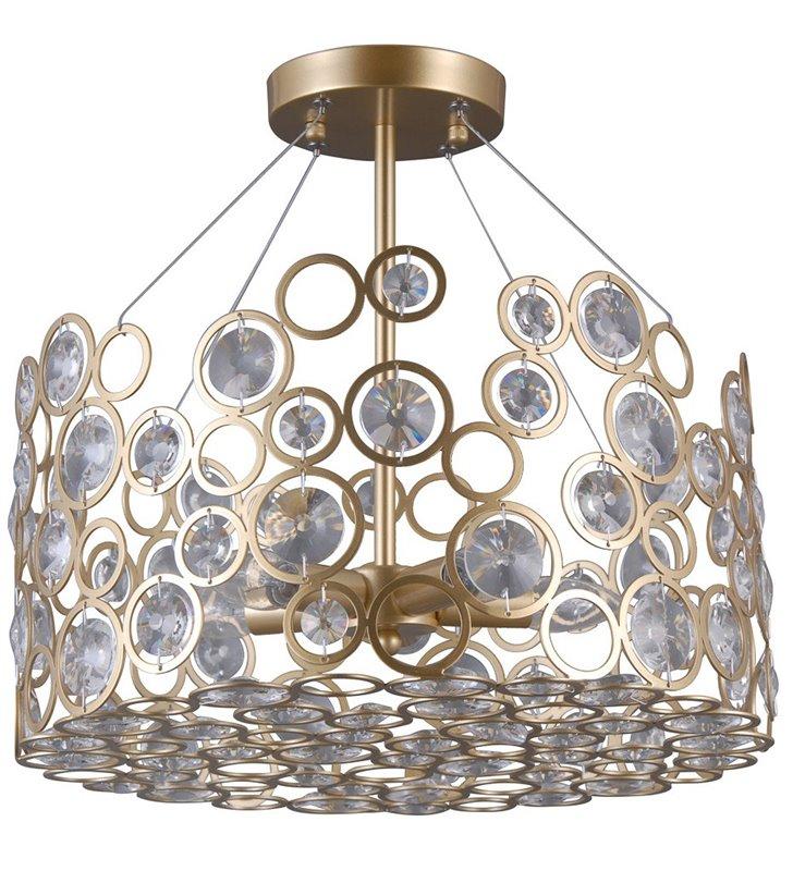 Złota ażurowa lampa sufitowa z kryształami Nardo styl nowoczesny dekoracyjna do sypialni pokoju dziennego salonu