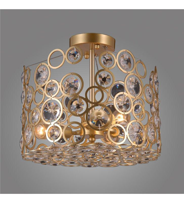 Lampa sufitowa Nardo nieduża złota ozdobiona kryształami styl nowoczesny dekoracyjna do sypialni pokoju dziennego salonu