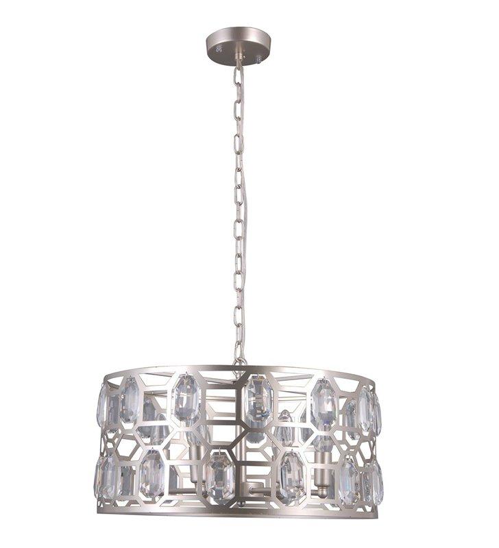 Lampa wisząca Momento w kolorze szampańskim z kryształami średnica 48cm okrągła do salonu sypialni jadalni nad stół