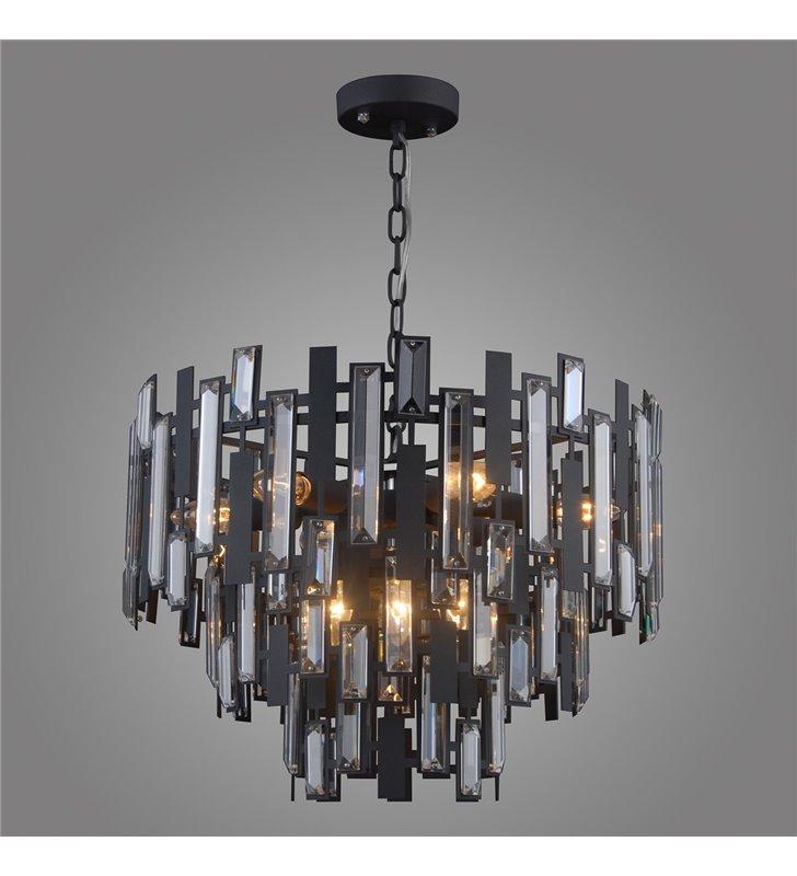 Czarna nowoczesna lampa wisząca Lukas z kryształami łańcuch do salonu sypialni jadalni nad stół