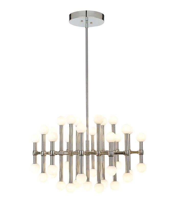 Lampa wisząca Giovanna duża wielopunktowa nowoczesna nikiel polerowany sztywne zawieszenie białe szklane klosze np. nad stół