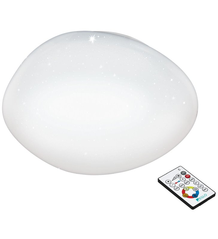 60cm biały plafon sufitowy Sileras 600 pilot zmiana barwy światła ściemniacz 4 stopniowy efekt kryształowego blasku