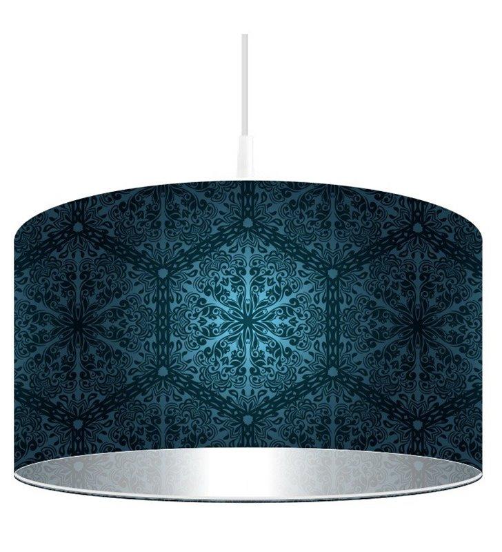 Granatowa okrągła lampa wisząca Głębia Granatu abażur z dekorem średnica 50cm do jadalni kuchni sypialni salonu - OD RĘKI