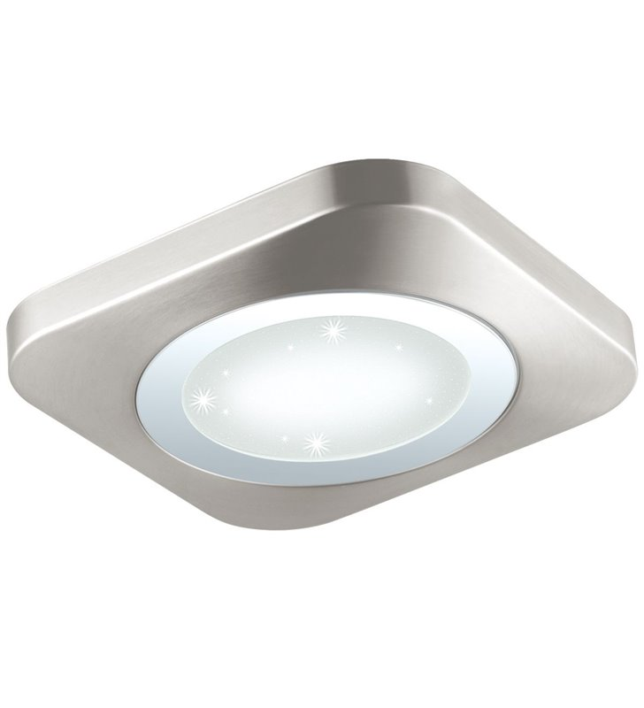 Kwadratowy 51cm płaski plafon LEDowy Puyo-S efekt kryształowego blasku po zapaleniu