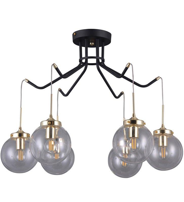 Lampa sufitowa Domenico czarno złota z 6 szklanymi okrągłymi kloszami nowoczesna do salonu jadalni sypialni