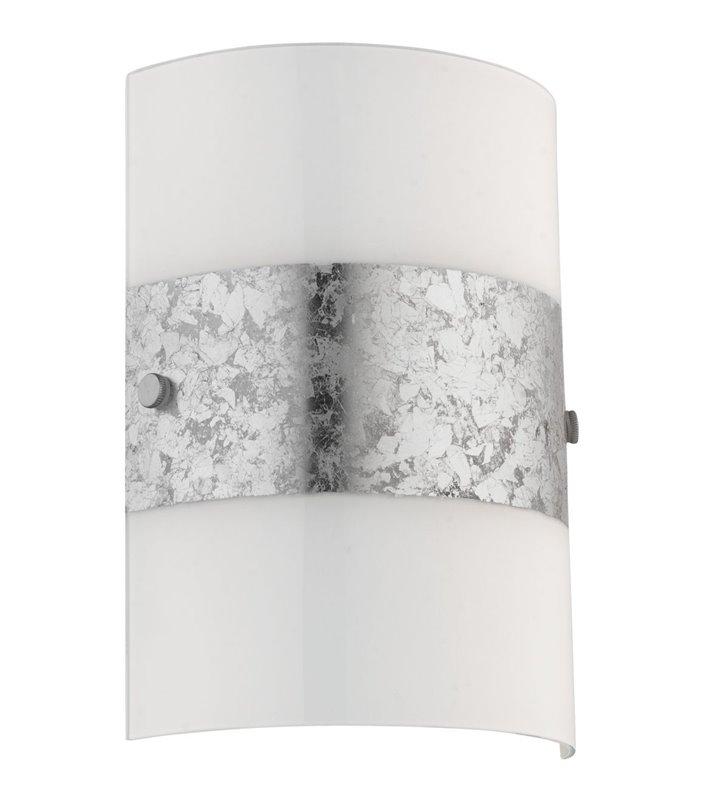 Kinkiet Fiumana biały szklany ze srebrnym dekorem