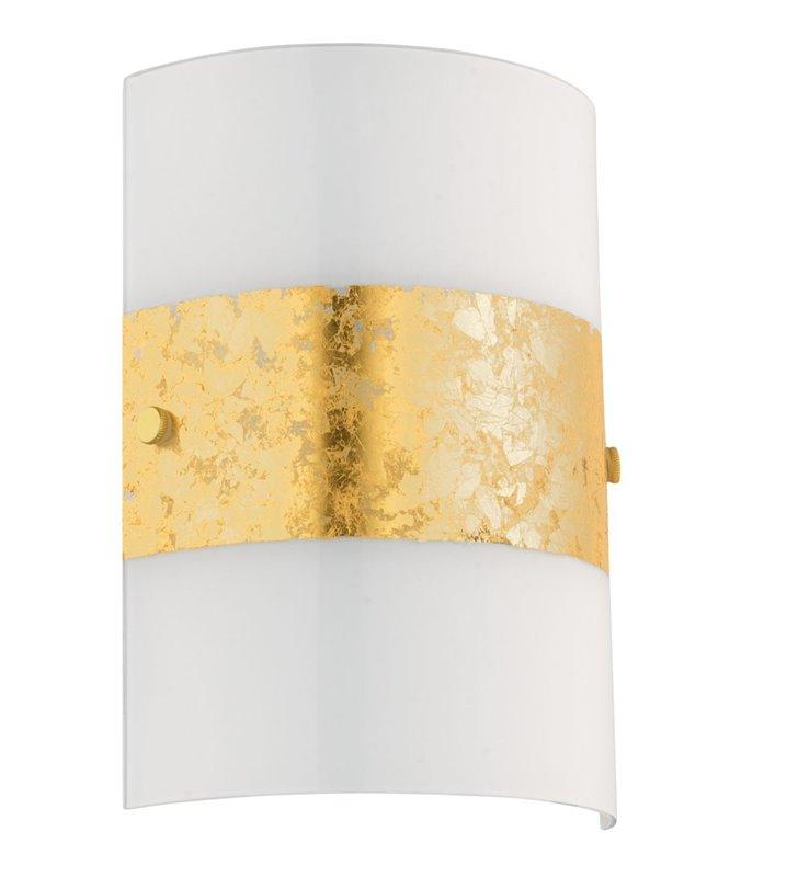 Biało złoty szklany kinkiet Fiumana