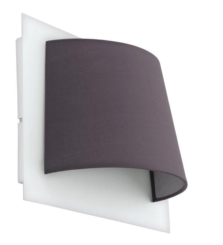 Kinkiet Serravalle biało szary abażur z materiału do salonu sypialni na przedpokój