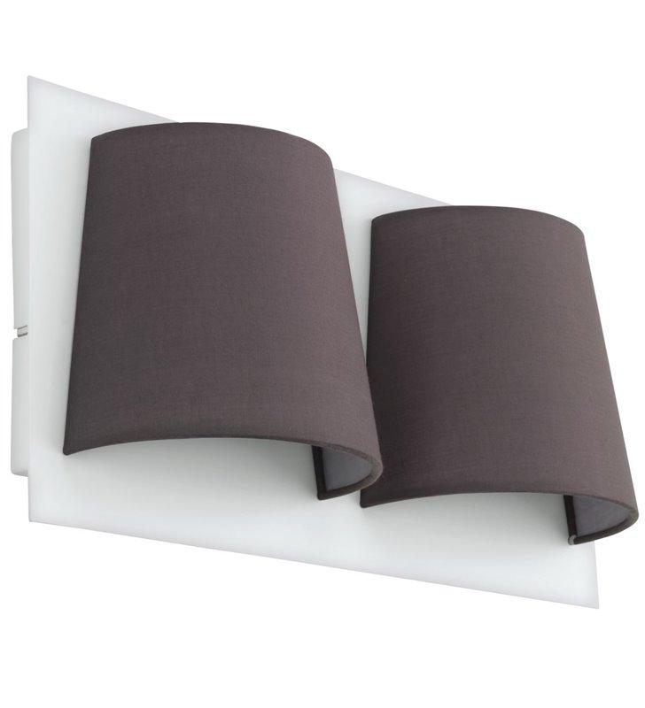 Podwójny nowoczesny kinkiet Serravalle biały z szarymi abażurami do salonu sypialni na przedpokój