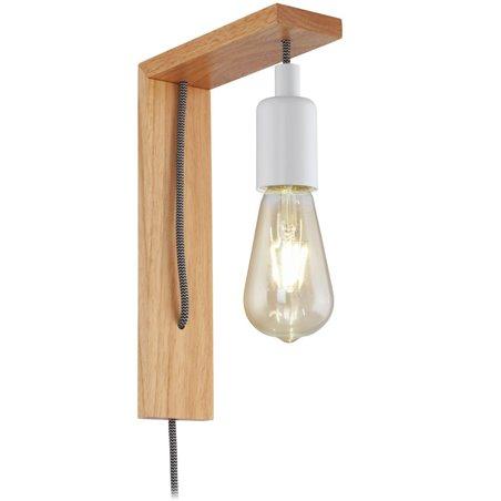 Drewniany kinkiet  z włącznikiem na kablu Tocopilla styl minimalistyczny vintage loft skandynawski