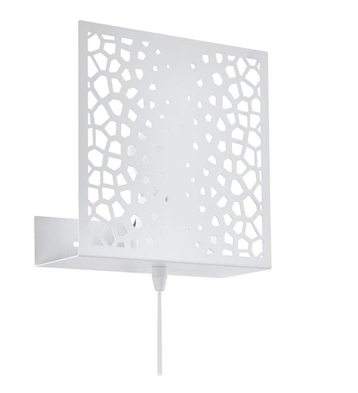Kinkiet Gallico biały metalowy ażurowy z włącznikiem na kablu