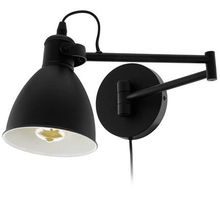 Kinkiet San Peri czarny metalowy ze składanym ramieniem włącznik na kablu