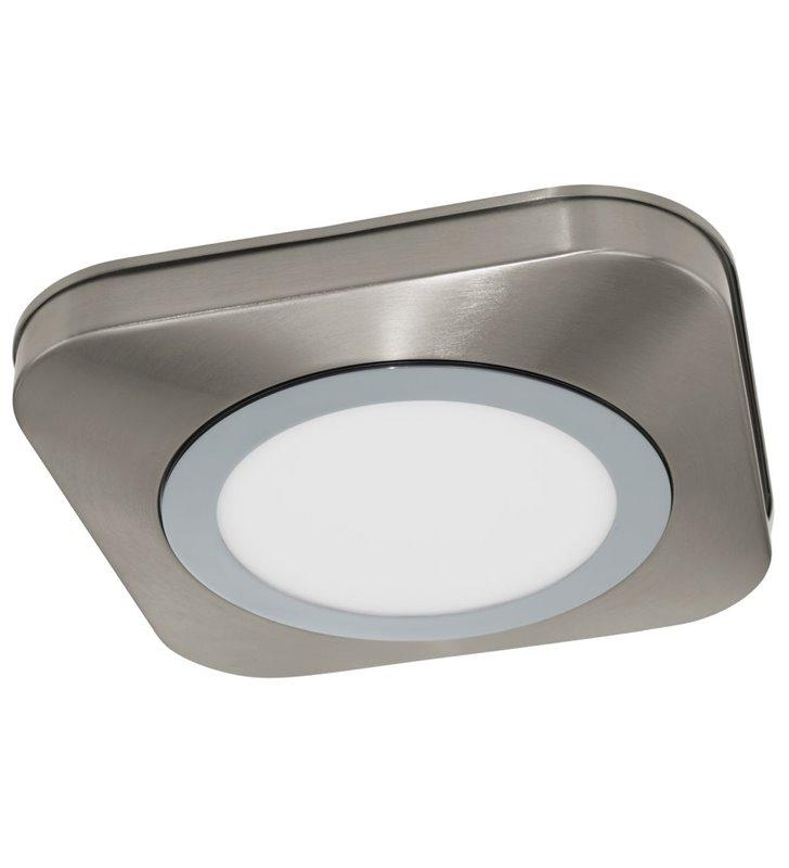 Kwadratowy plafon łazienkowy Olmos LED nikiel satyna ciepła barwa światła
