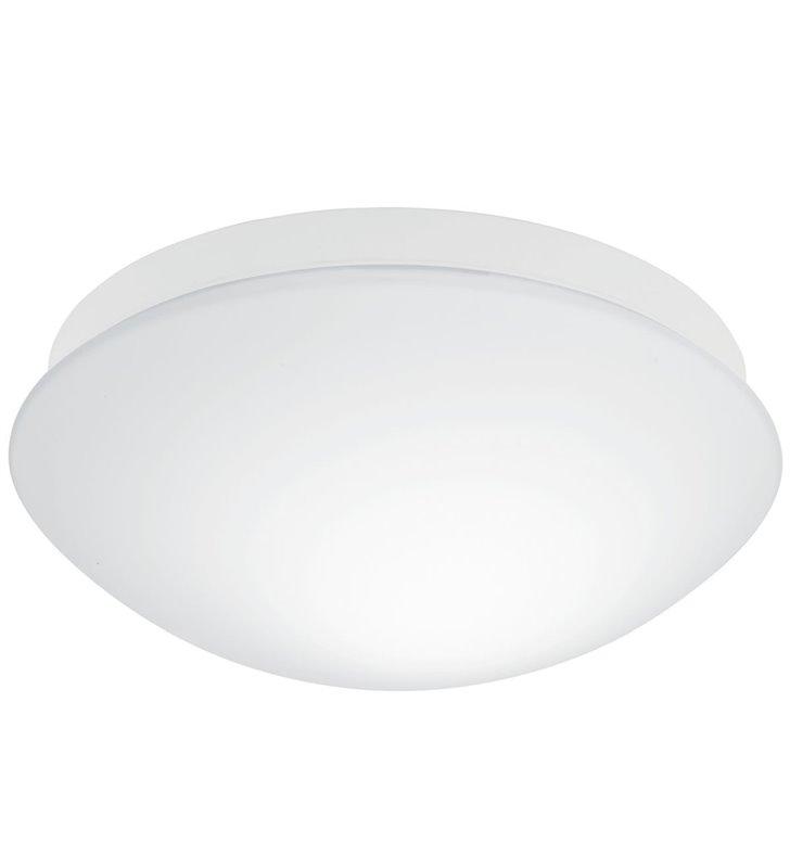 Biały szklany okrągły plafon łazienkowy z czujnikiem ruchu Bari-M 27,5cm