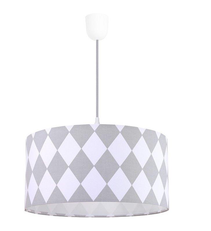 Lampa wisząca w romby Diamante biało szara do pokoju dziennego dziecięcego młodzieżowego do sypialni