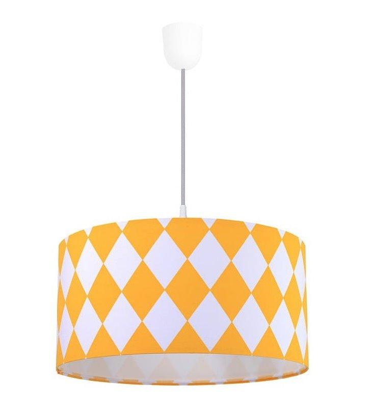 Biało żółte romby lampa wisząca Diamante do salonu pokoju dziecka nastolatka do sypialni