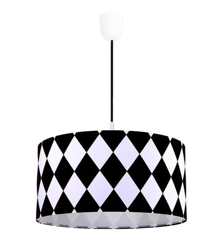 Lampa wisząca Diamante biało czarne romby abażur bawełna 50cm