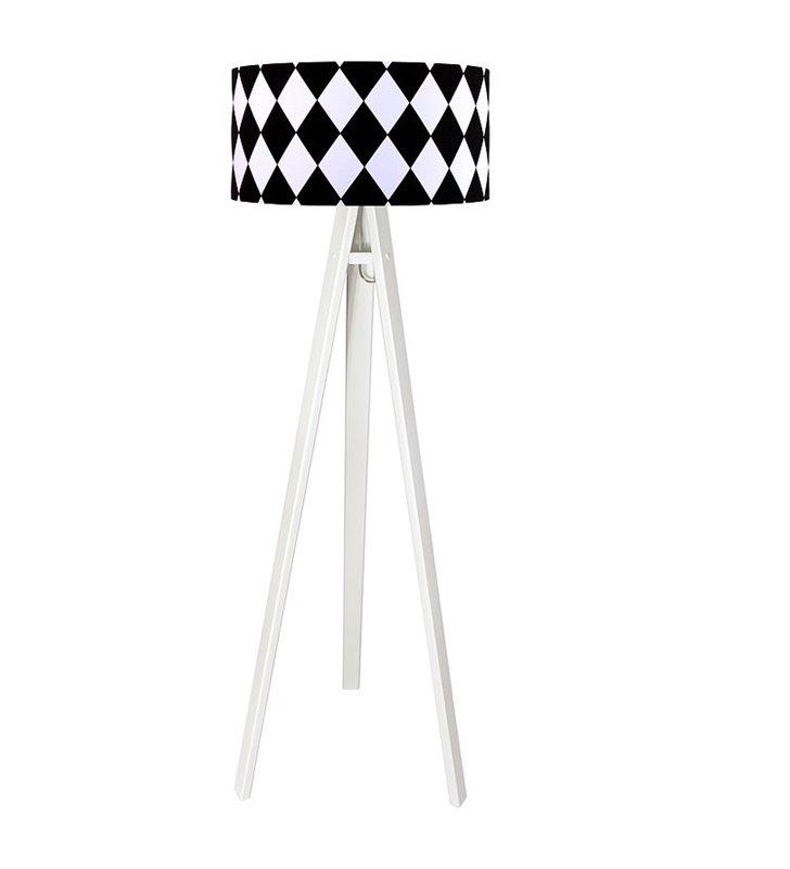 Lampa podłogowa Diamante na 3 białych nogach abażur z bawełny białe czarne romby